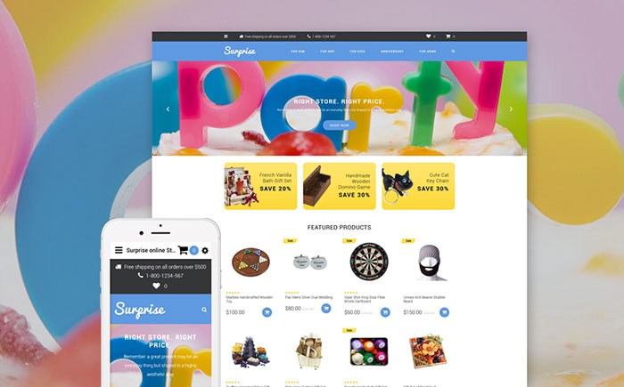 Party Organizing & Gifts for Children Responsive OpenCart Theme