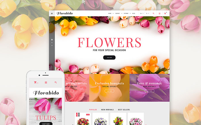 Exclusive Floral Arrangement Cross-Browser PrestaShop Template